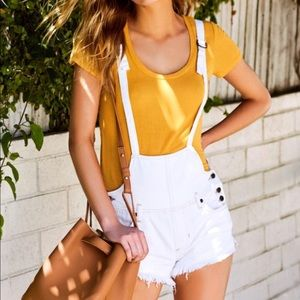 Free People Strappy Overall Shorts White Denim